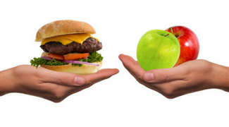 hamburger and a red and green apple