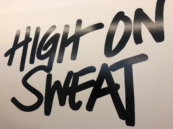 high on sweat text